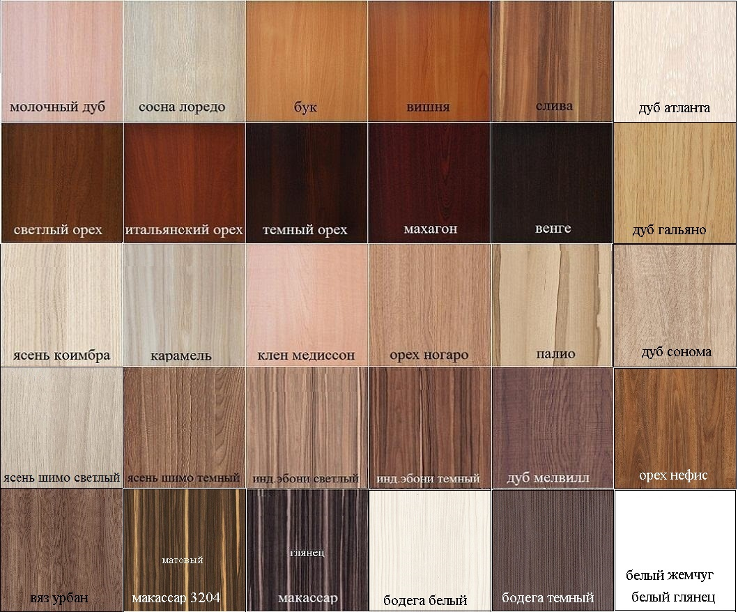 Доступные цвета корпуса кухонь